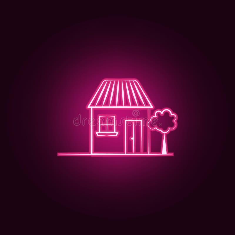 Camera, icona al neon dell'albero Elementi dell'insieme immaginario della casa E illustrazione di stock