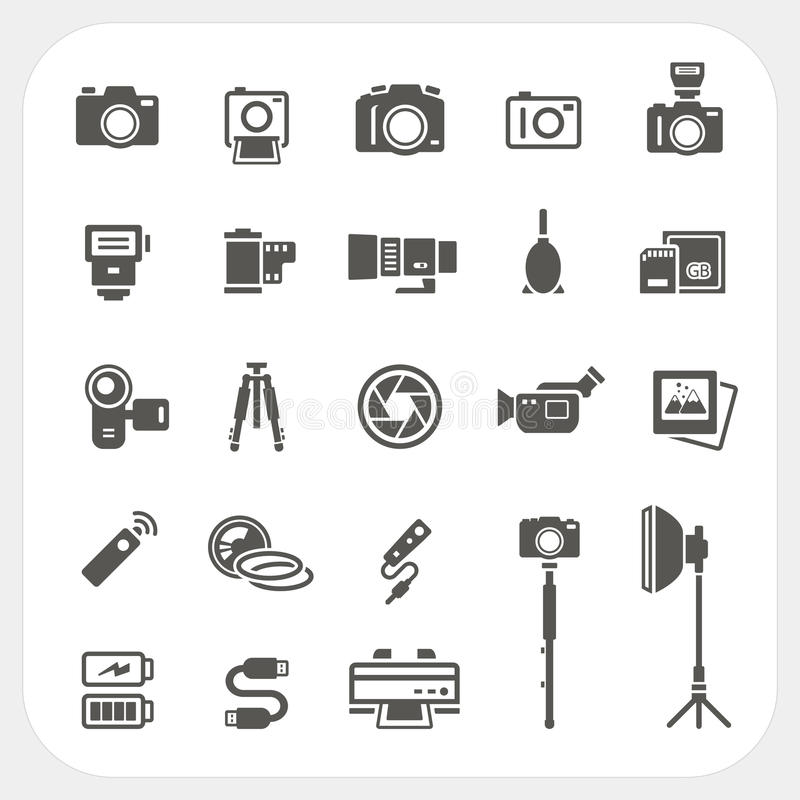Camera icons and Camera Accessories icons set. EPS10, Don't use transparency stock illustration