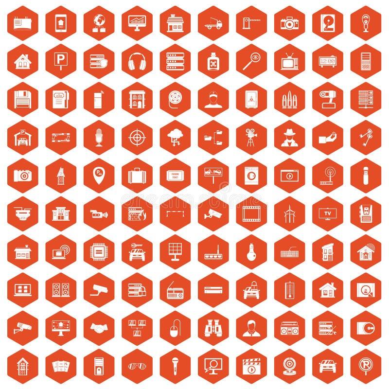 100 camera icons hexagon orange stock illustration