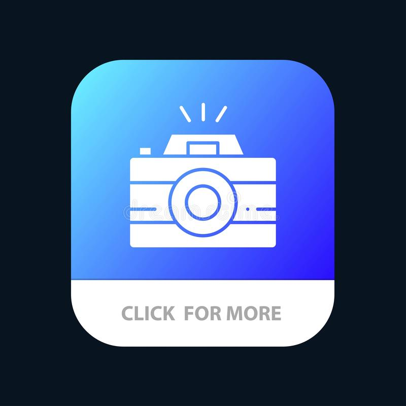 Camera, Image, Photo, Photography Mobile App Button. Android and IOS Glyph Version stock illustration