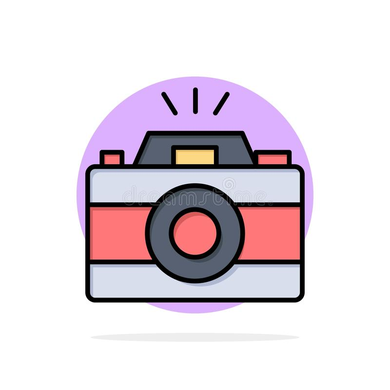 Camera, Image, Photo, Picture Abstract Circle Background Flat color Icon stock illustration