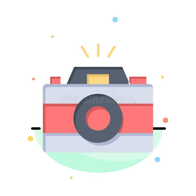 Camera, Image, Photo, Picture Abstract Flat Color Icon Template royalty free illustration