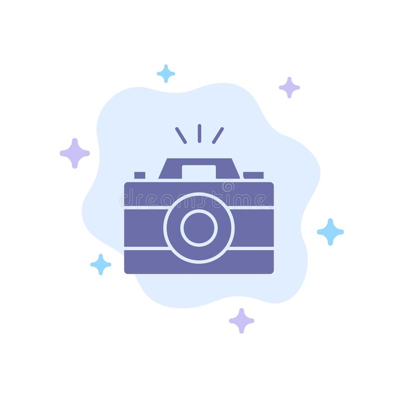 Camera, Image, Photo, Picture Blue Icon on Abstract Cloud Background royalty free illustration