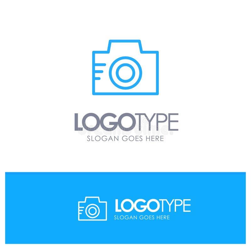Camera, Image, Photo, Picture Blue Outline Logo Place for Tagline vector illustration