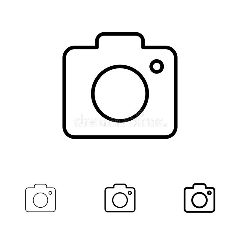 Camera, Image, Photo, Picture Bold and thin black line icon set vector illustration
