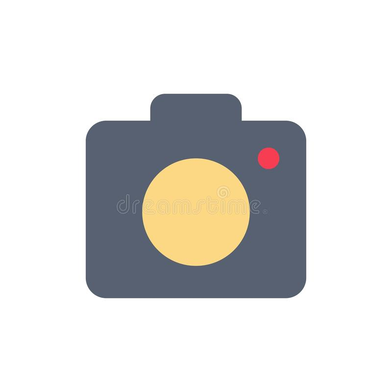 Camera, Image, Photo, Picture  Flat Color Icon. Vector icon banner Template stock illustration
