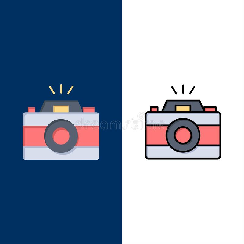 Camera, Image, Photo, Picture  Icons. Flat and Line Filled Icon Set Vector Blue Background vector illustration