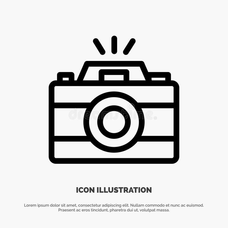 Camera, Image, Photo, Picture Vector Line Icon royalty free illustration
