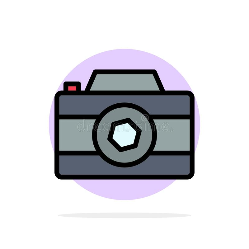 Camera, Image, Picture, Photo Abstract Circle Background Flat color Icon stock illustration