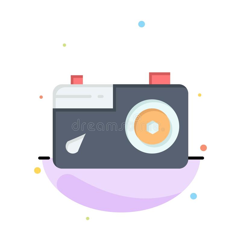 Camera, Image, Picture, Photo Abstract Flat Color Icon Template vector illustration