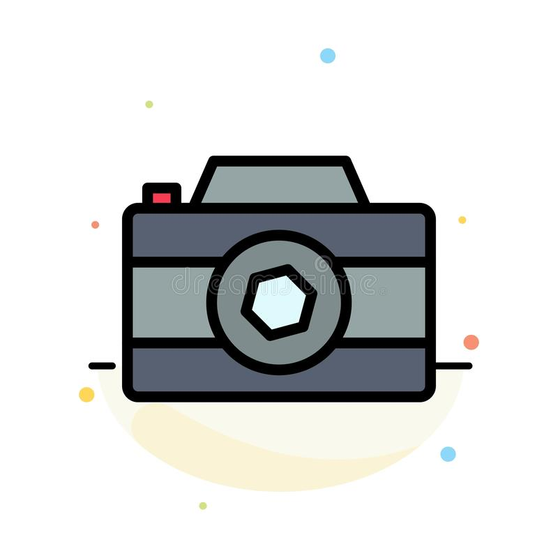 Camera, Image, Picture, Photo Abstract Flat Color Icon Template stock illustration