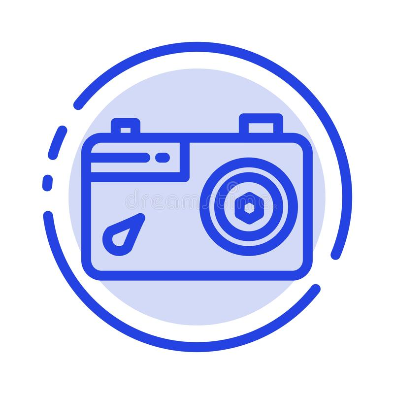 Camera, Image, Picture, Photo Blue Dotted Line Line Icon vector illustration