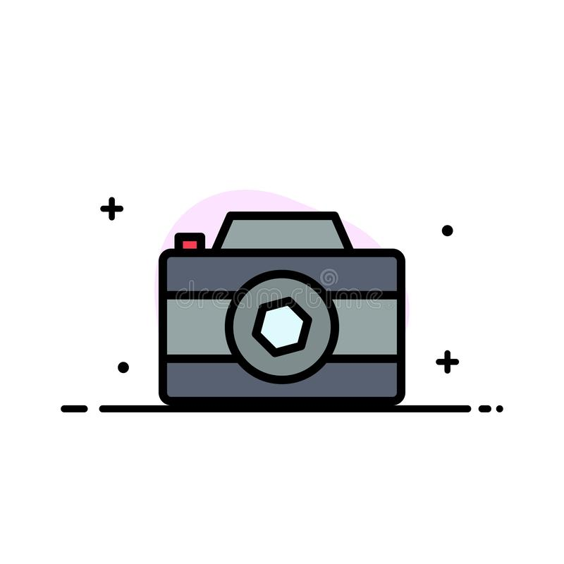 Camera, Image, Picture, Photo  Business Flat Line Filled Icon Vector Banner Template vector illustration