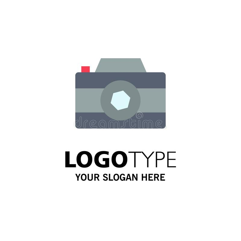 Camera, Image, Picture, Photo Business Logo Template. Flat Color royalty free illustration