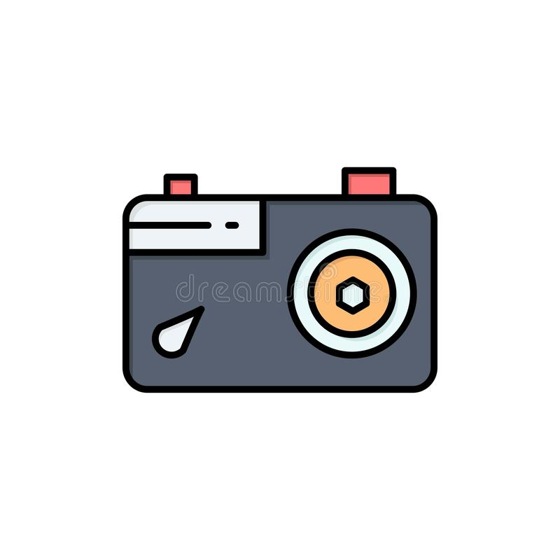 Camera, Image, Picture, Photo  Flat Color Icon. Vector icon banner Template vector illustration