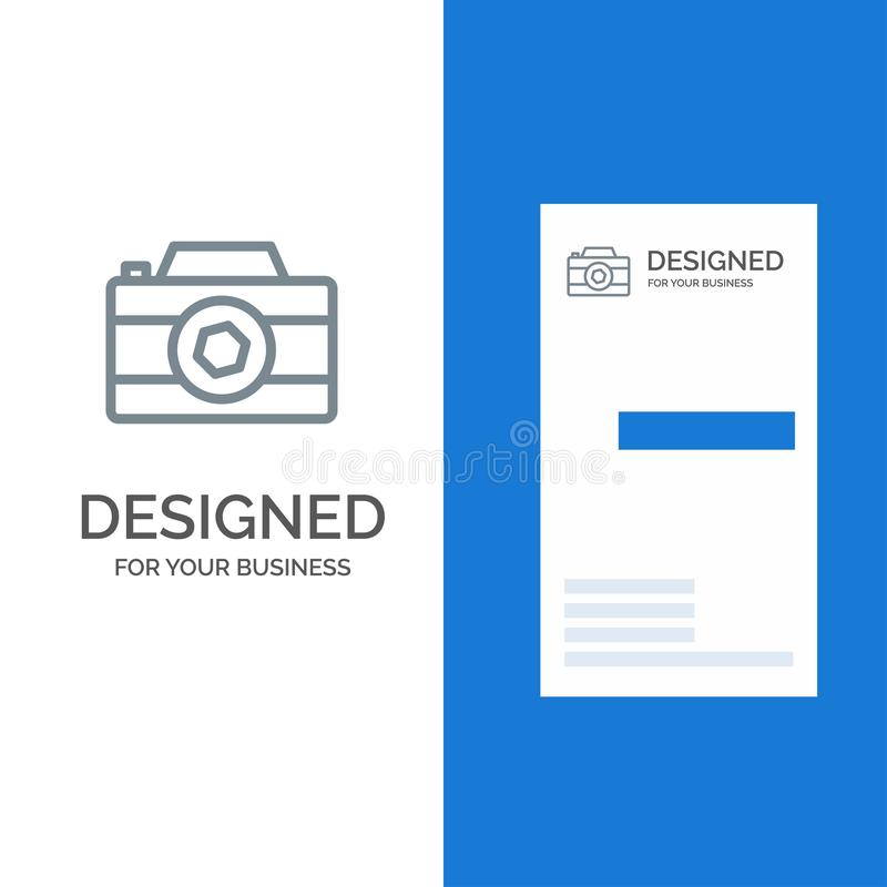 Camera, Image, Picture, Photo Grey Logo Design and Business Card Template vector illustration