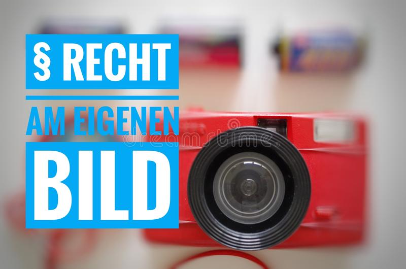 Camera with the inscription in german § Recht am eigenen Bild in english Right to your own picture.  stock photos