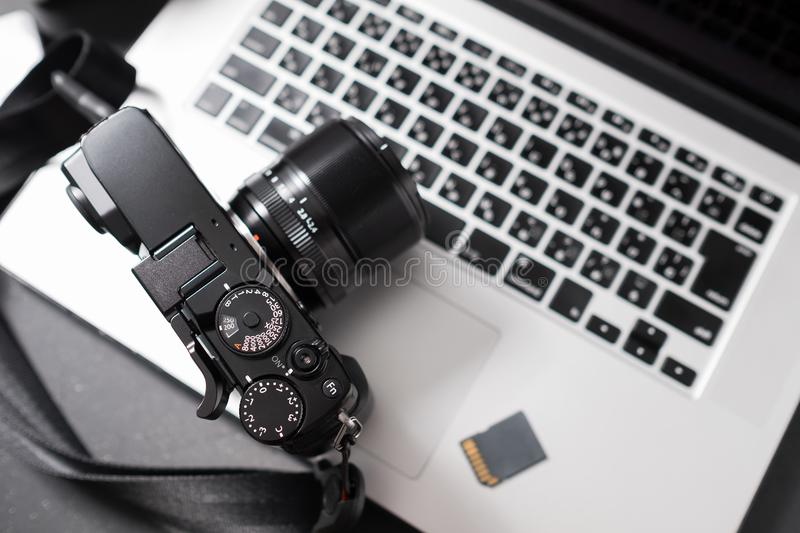 Camera on laptop royalty free stock photography