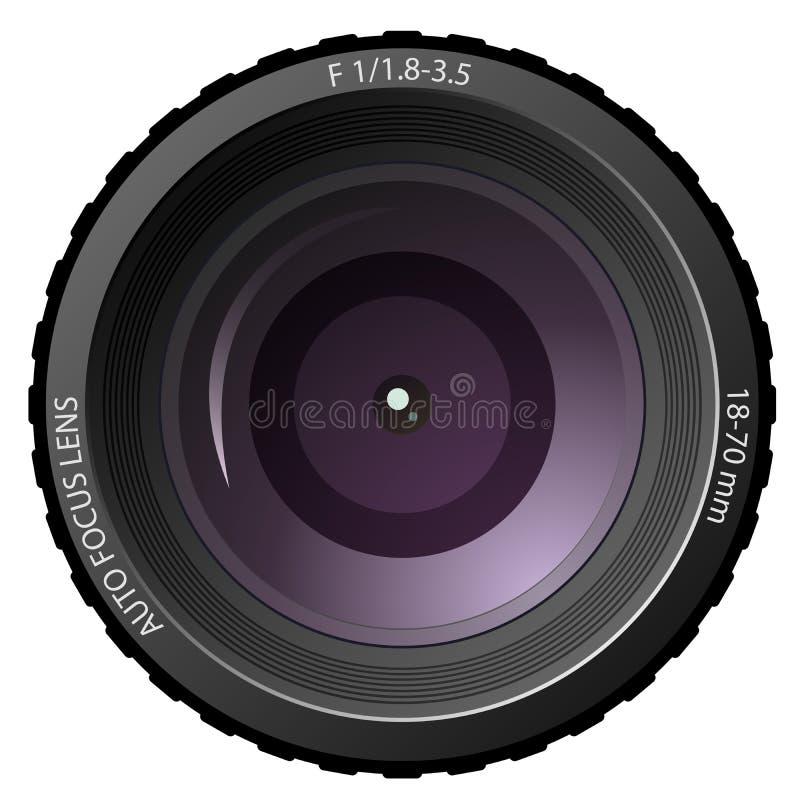 Camera lens. New modern camera lens isolated on white background royalty free illustration