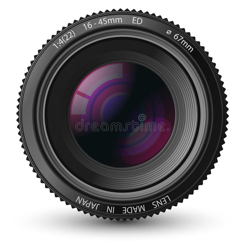 A camera lens. Illustration with realistic reflections and shadow royalty free illustration