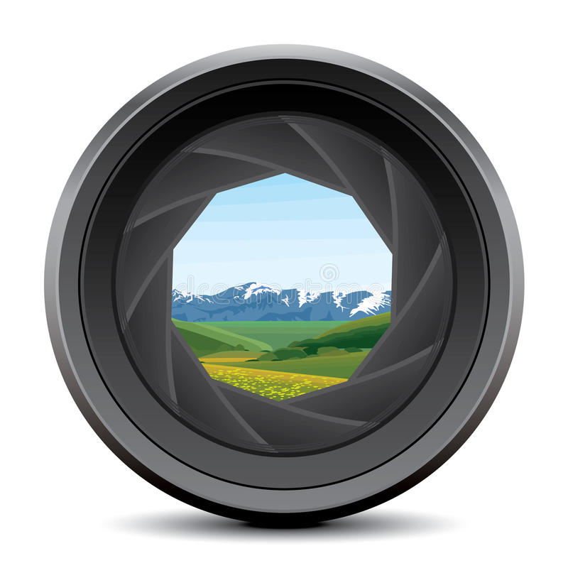 Camera lens. And aperture background