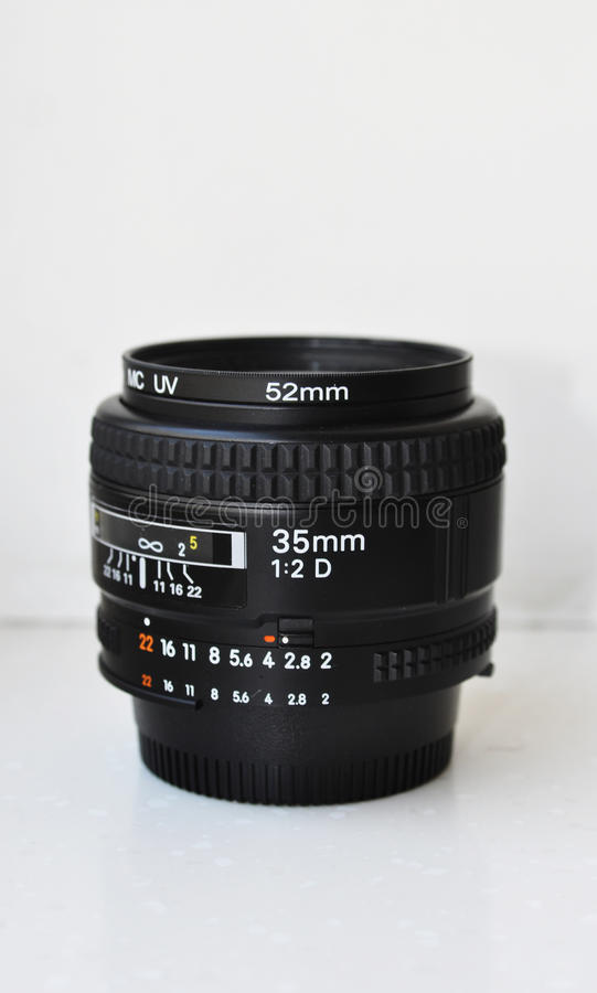 Camera lens,35mm. 35mm camera lens, fixed focal length royalty free stock photo