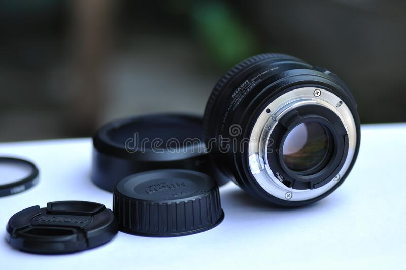 Camera lens and accessories royalty free stock photography