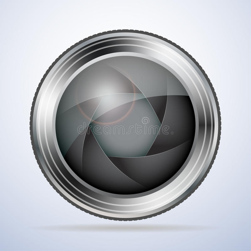 Camera lens with aperture stock illustration