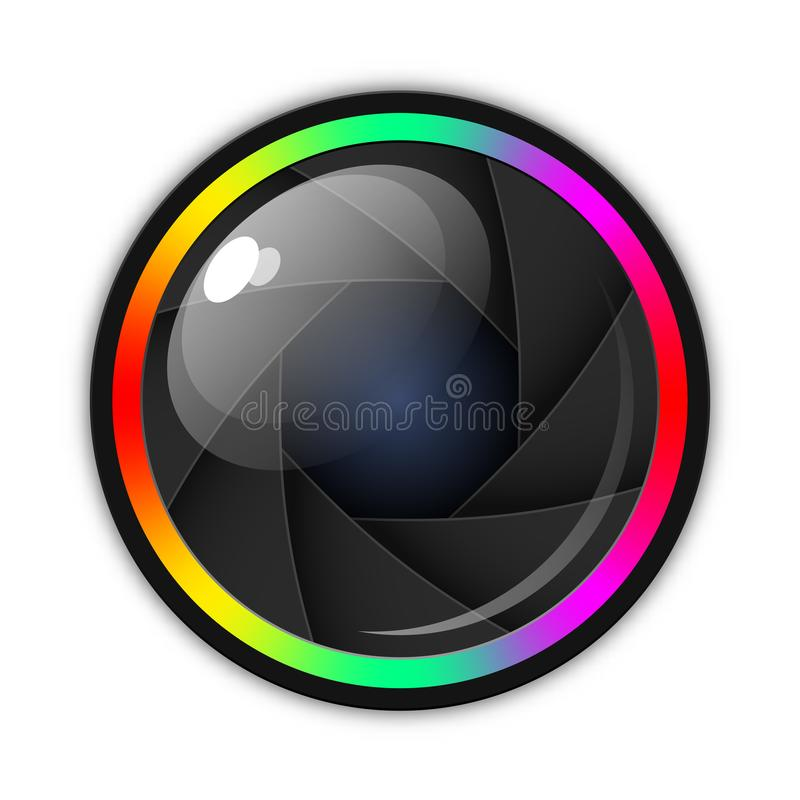 Camera lens, aperture or shutter icon. Vector illustration white background. Camera lens, aperture or shutter icon. Vector illustration with soft shadow on white stock illustration