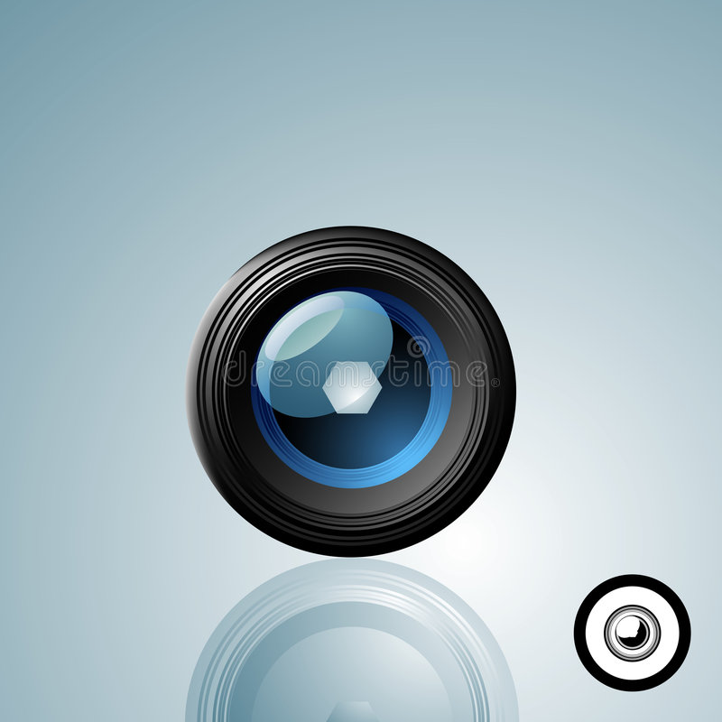 Camera Lens Button. With a black and white icon version