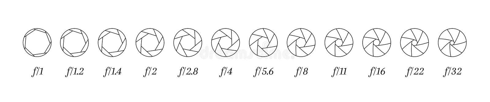 Camera lens diaphragm lined icons row with aperture value numbers.  stock illustration