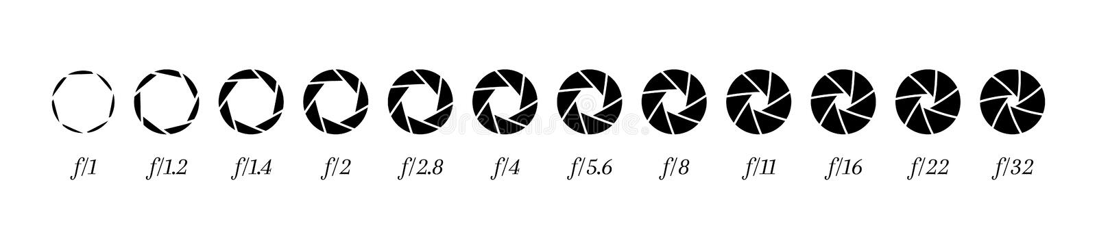Camera lens diaphragm row with aperture value numbers.  vector illustration