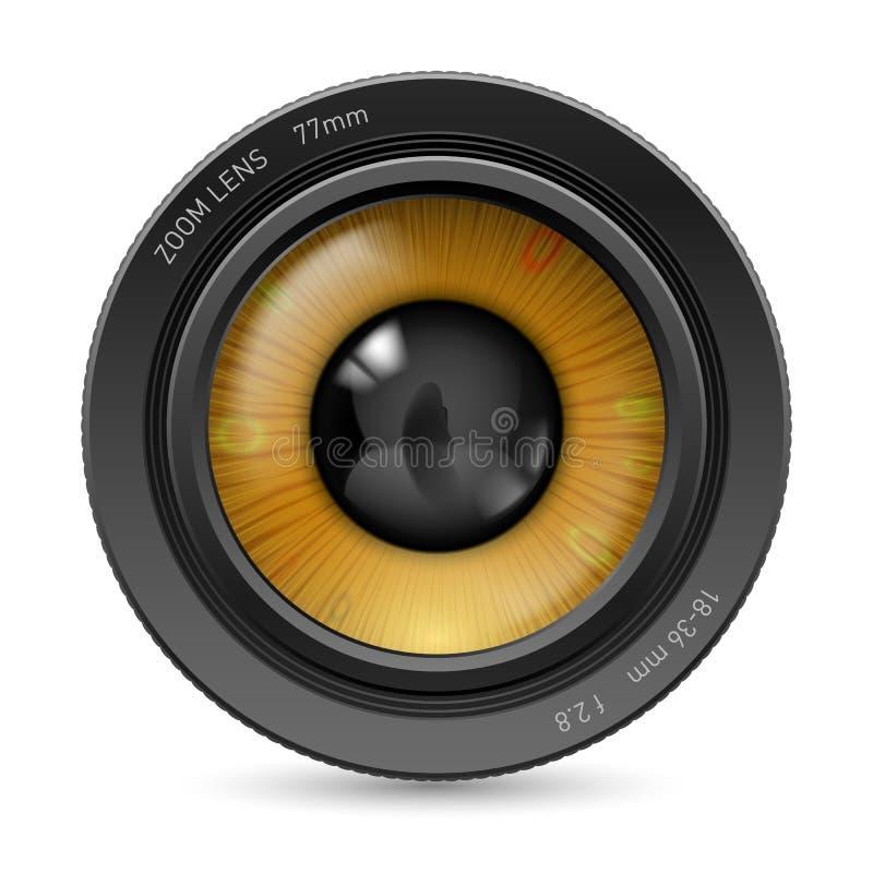 Camera lens eye. Camera lens on white background. Illustration orange eye royalty free illustration