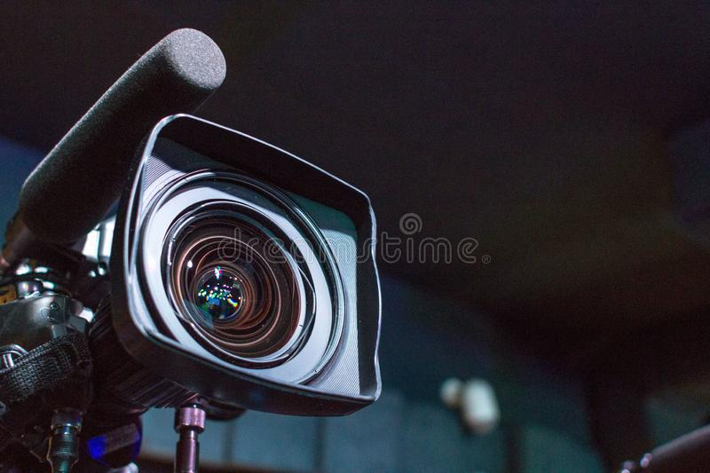 Camera lens for filming a movie or television program stock photo