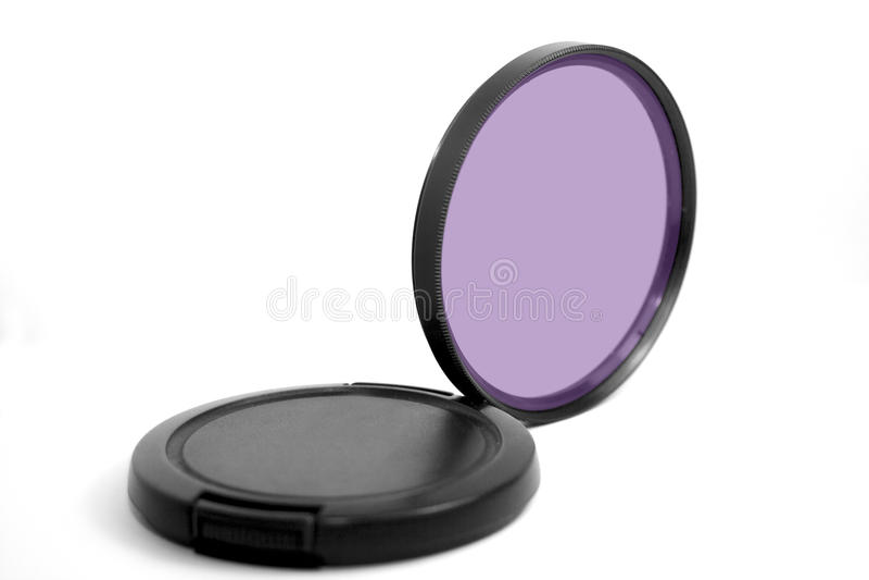 Camera Lens Filter. Camera polarize filter on white background royalty free stock image