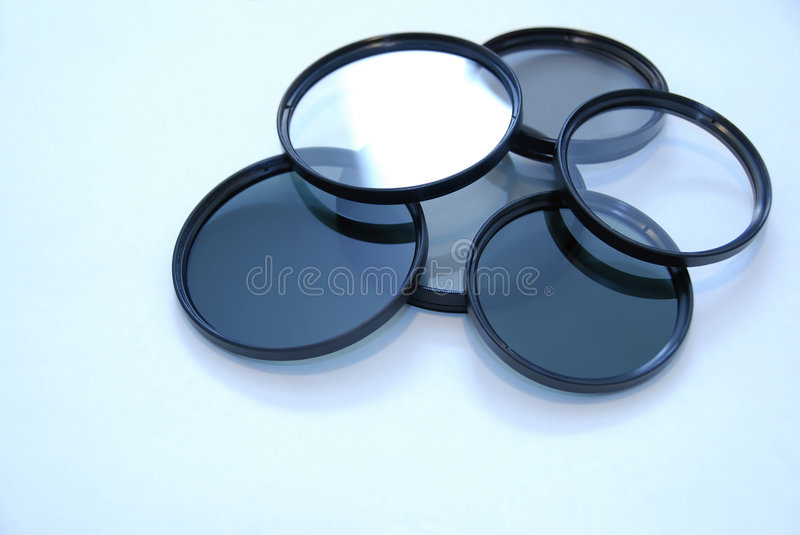 Camera lens filters stock image