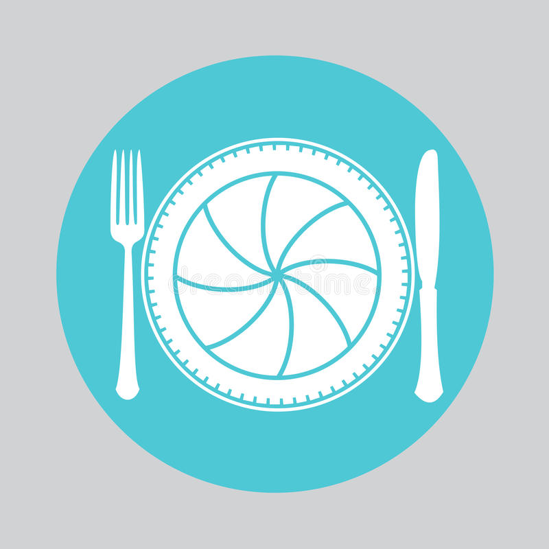 Camera lens with fork and knife. Table setting. Food Photography concept. foodphoto, food photo icon stock illustration