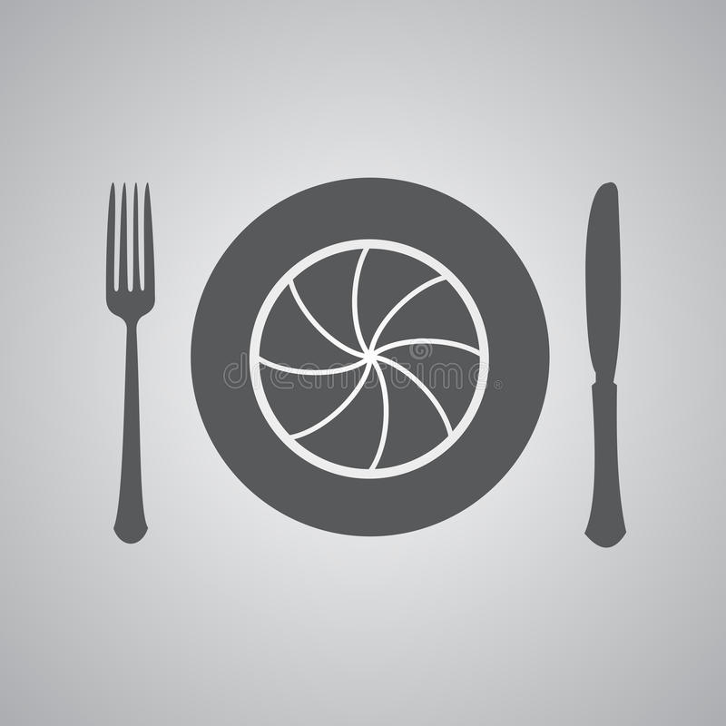 Camera lens with fork and knife. Table setting. Food Photography concept. foodphoto, food photo icon vector illustration
