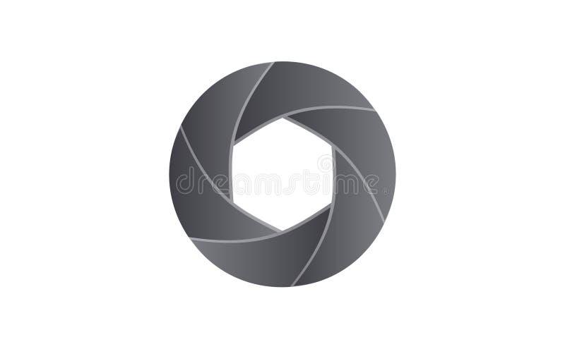 Shutter hexagonal lens of camera stock illustration