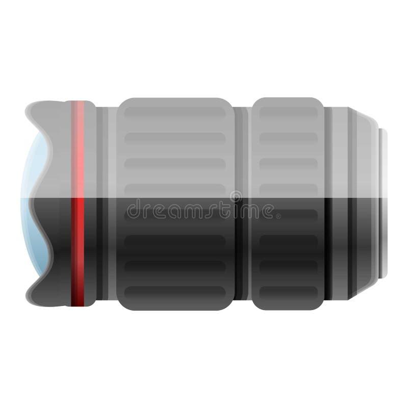 Camera lens icon, cartoon style stock illustration