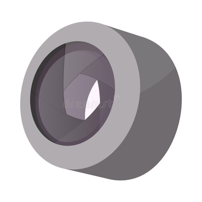 Camera lens icon, cartoon style royalty free illustration