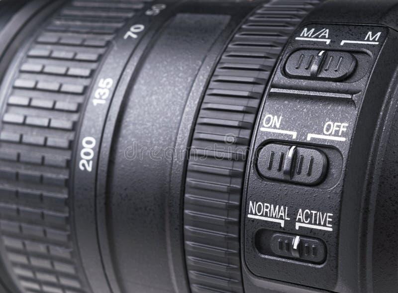 Camera lens with lens reflections. Lens for SLR Single Lens Reflex Camera. Modern digital SLR camera. Detailed photo stock images