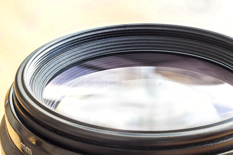 Camera lens with lense reflections. Closeup of a photographic le stock images