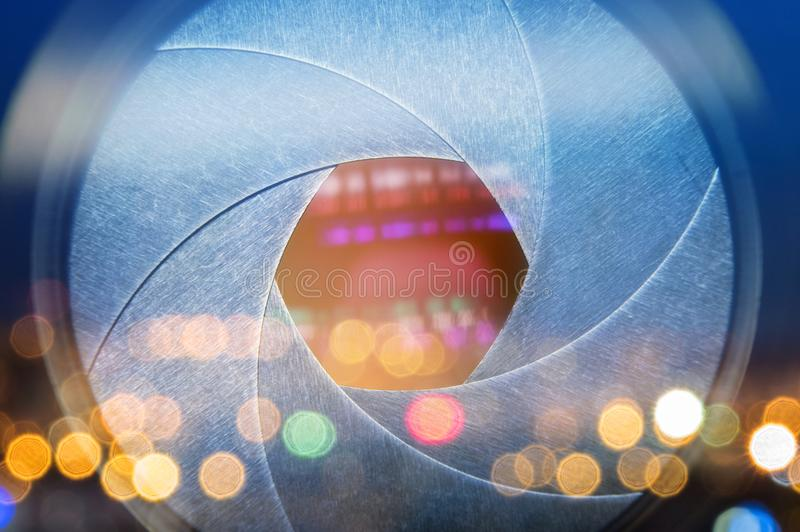 Camera lens with lense reflections. Open aperture objective clos stock photos