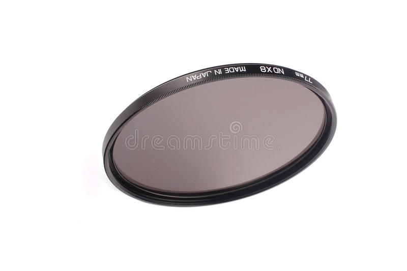 Camera lens neutral density filter stock photo
