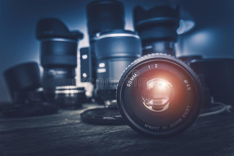 Camera Lens. And Photography Equipment in the Background. Photography Concept Photo royalty free stock photos