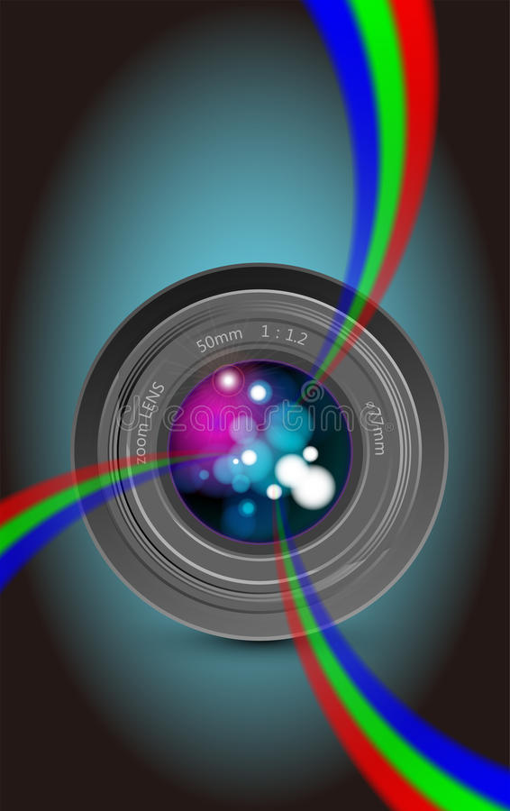 Camera Lens Rainbow Light Stock Image