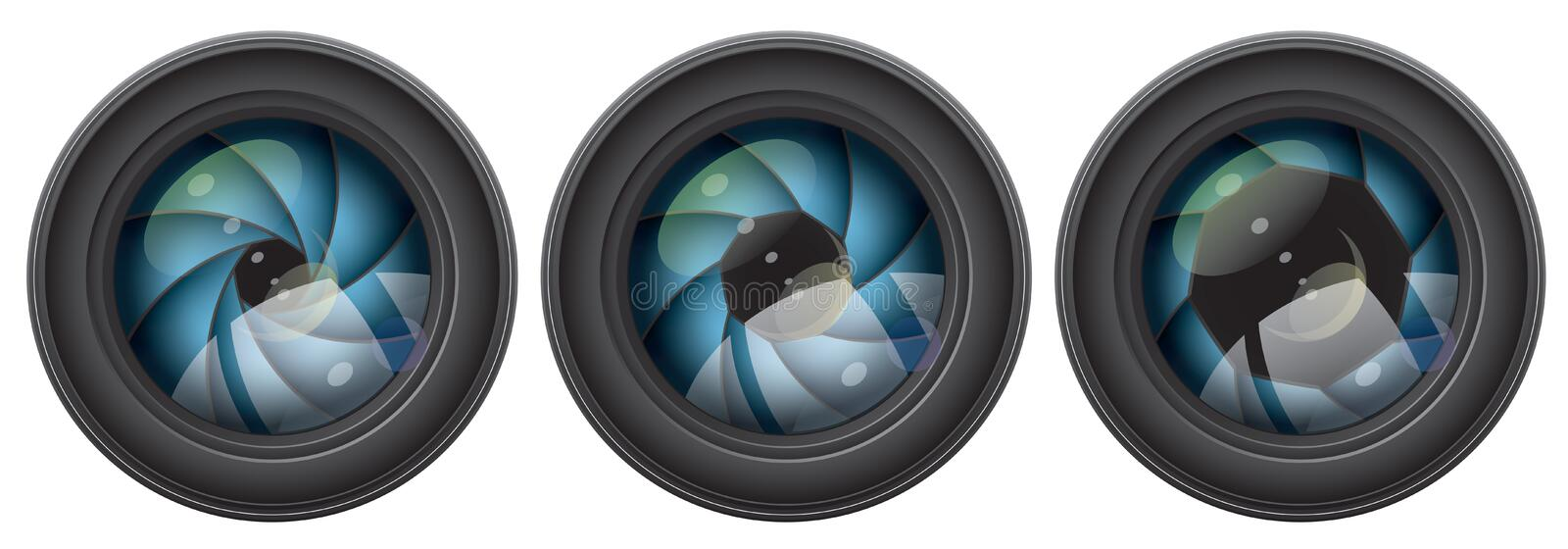 Camera lens with shutter apertures. Vector camera lens with shutter apertures stock illustration