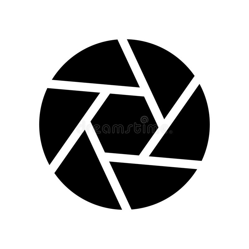 Camera lens shutter black color icon . Camera lens shutter it is black color icon vector illustration