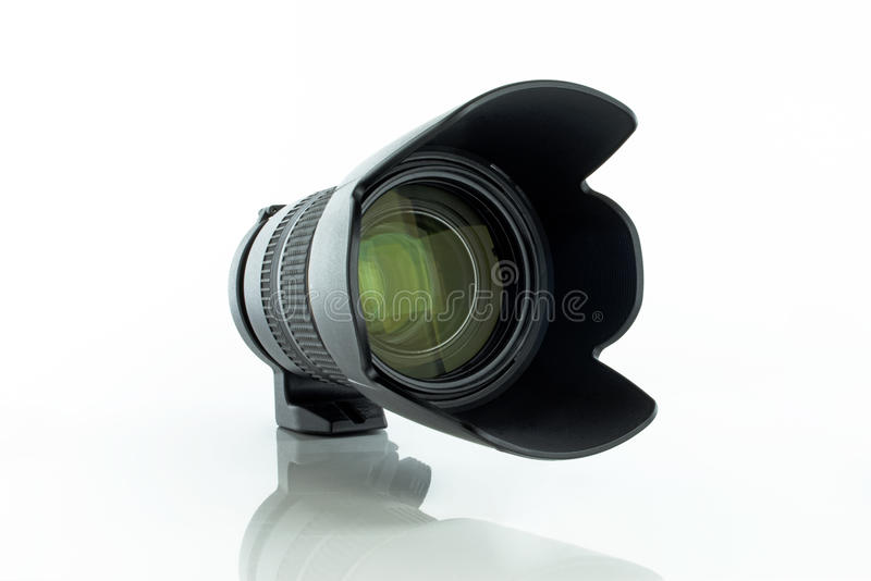 Camera lens 70-200. Camera lens tamron 70-200 sp vc on white background royalty free stock images